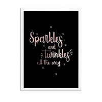 Kerstposter Sparkles and Twinkles all the way - Kerstdecoratie Koper folie + zwart