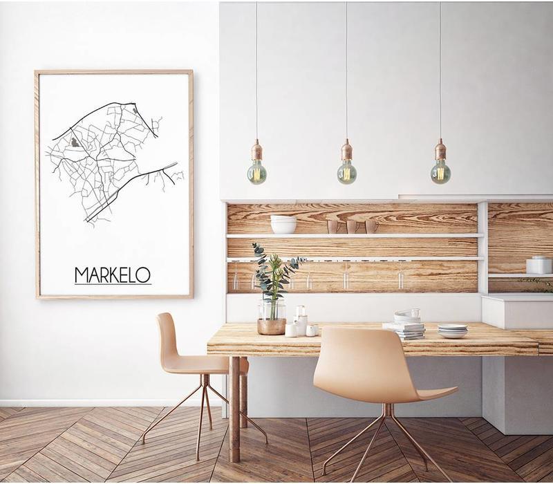 Plattegrond Markelo Stadskaart poster – Wit grijs zwart