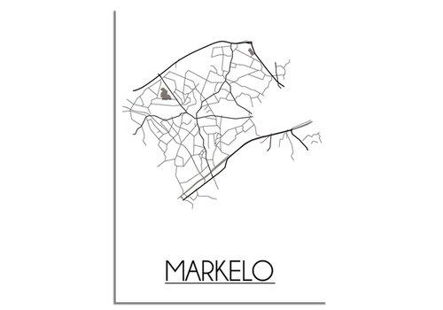 DesignClaud Plattegrond Markelo Stadskaart poster – Wit grijs zwart