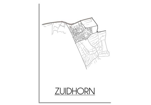 DesignClaud Plattegrond Zuidhorn Stadskaart poster – Wit grijs zwart