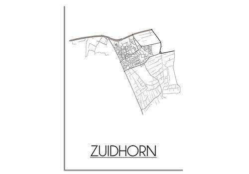 DesignClaud Zuidhorn Stadtplan poster plakat - Weiß grau schwarz