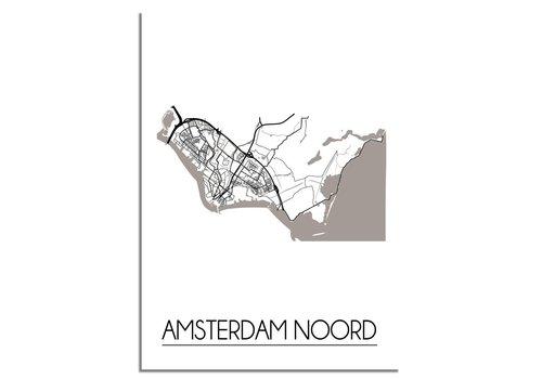 DesignClaud Grundriss Stadtplan Amsterdam Nord - Wanddekoration - Schwarz-Weiß-Grau