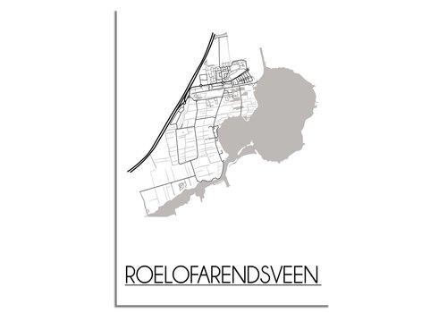 DesignClaud Grundriss Stadtplan Roelofarendsveen - Wanddekoration - Schwarz-Weiß-Grau