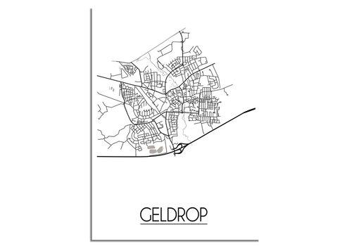 DesignClaud Plattegrond Geldrop Stadskaart poster - Zwart wit grijs