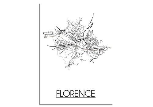 DesignClaud Grundriss Stadtplan Florence - Wanddekoration - Schwarz-Weiß-Grau