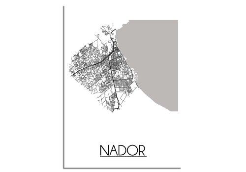 DesignClaud Grundriss Stadtplan Nador Marokko - Wanddekoration - Schwarz-Weiß-Grau