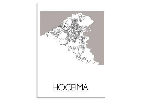 DesignClaud Grundriss Stadtplan Hoceima Marokko - Wanddekoration - Schwarz-Weiß-Grau