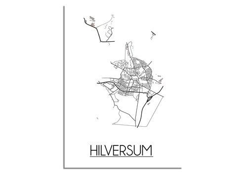 DesignClaud Plattegrond Hilversum Stadskaart poster - Wit zwart grijs