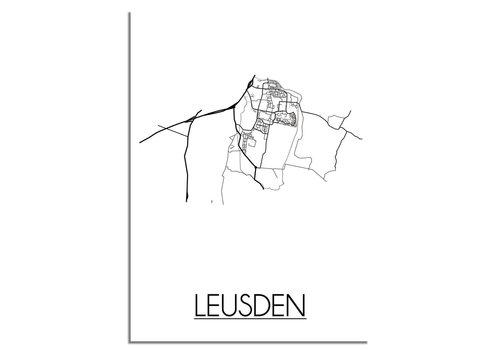 DesignClaud Plattegrond Leusden Stadskaart poster - Wit zwart grijs