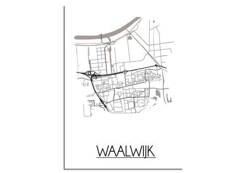 DesignClaud Plattegrond Waalwijk Stadskaart poster - Wit zwart grijs