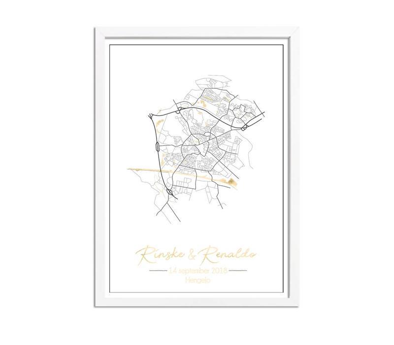 Huwelijksposter Goudfolie / Zilverfolie / Koperfolie Stadskaart trouwposter