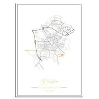 Geburtsposter Goldfolie / Silberfolie / Kupferfolie - Stadtplan - Geburtsort