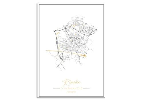 DesignClaud Geboorteposter Goudfolie / Zilverfolie / Koperfolie - Stadskaart - Geboorteplaats Kraamcadeau