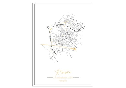 DesignClaud Geboorteposter Goudfolie / Zilverfolie / Koperfolie - Stadskaart - Geboorteplaats