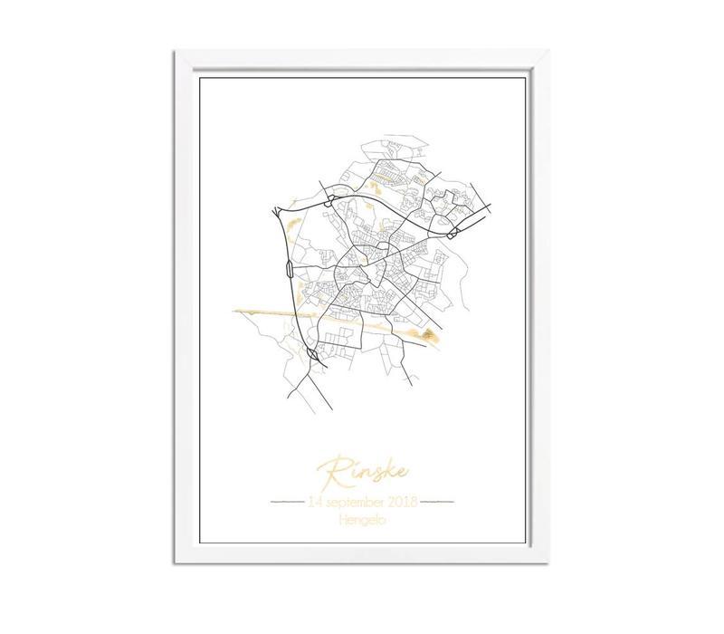 Geboorteposter Goudfolie / Zilverfolie / Koperfolie - Stadskaart - Geboorteplaats