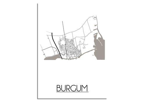 DesignClaud Plattegrond Burgum Stadskaart poster - Wit zwart grijs