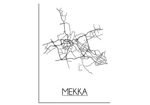 DesignClaud Plattegrond Mekka Stadskaart poster - Wit zwart grijs