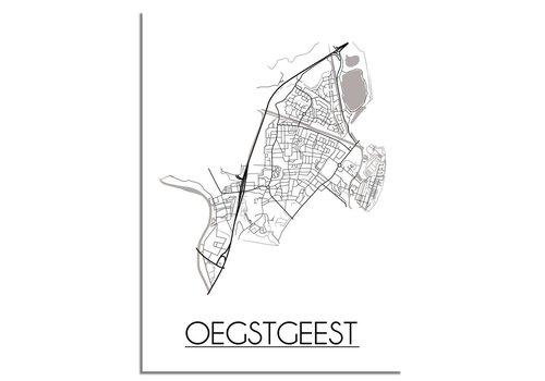 DesignClaud Plattegrond Oegstgeest Stadskaart poster - Wit zwart grijs