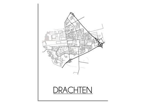 DesignClaud Plattegrond Drachten Stadskaart poster - Wit zwart grijs