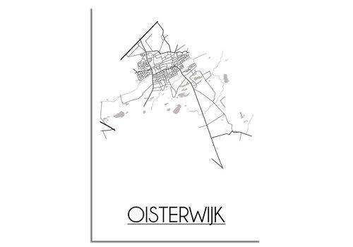 DesignClaud Plattegrond Oisterwijk Stadskaart poster - Wit zwart grijs