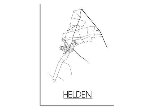 DesignClaud Plattegrond Helden Stadskaart poster - Wit zwart grijs