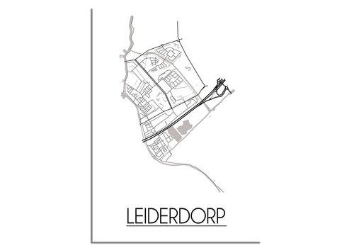 DesignClaud Plattegrond Leiderdorp Stadskaart poster - Wit zwart grijs