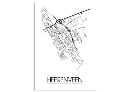 DesignClaud Plattegrond Heerenveen Stadskaart poster - Wit zwart grijs