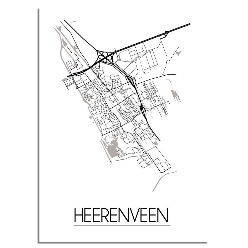Plattegrond Heerenveen Stadskaart Wanddecoratie Zwart Wit