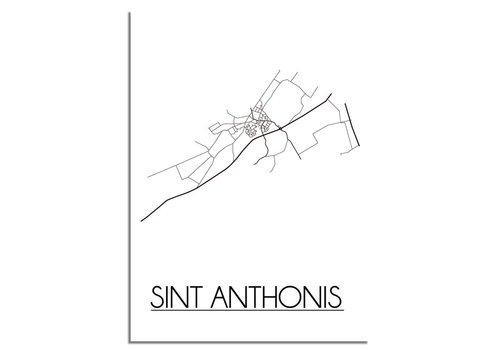 DesignClaud Plattegrond Sint Anthonis Stadskaart poster - Wit zwart grijs