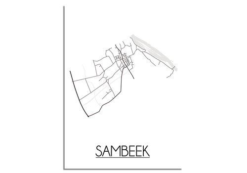 DesignClaud Plattegrond Sambeek Stadskaart poster - Wit zwart grijs