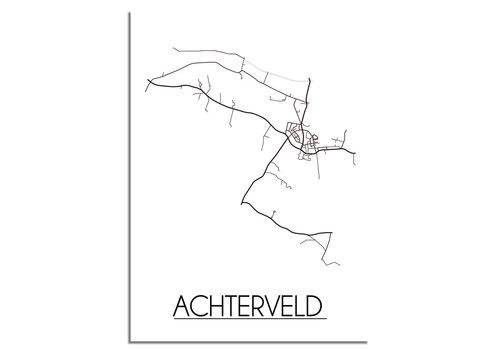 DesignClaud Achterveld Stadtplan-poster - Weiß Schwarz Grau