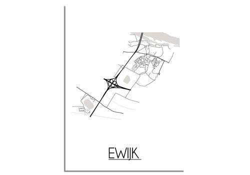 DesignClaud Plattegrond Ewijk Stadskaart poster - Wit zwart grijs