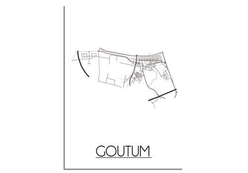 DesignClaud Plattegrond Goutum Stadskaart poster - Wit zwart grijs