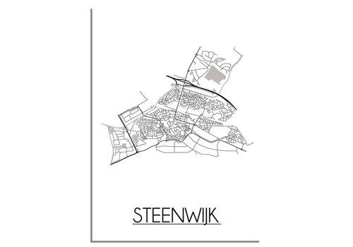 DesignClaud Plattegrond Steenwijk Stadskaart poster - Wit zwart grijs
