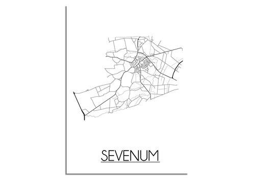 DesignClaud Plattegrond Sevenum Stadskaart poster - Wit zwart grijs