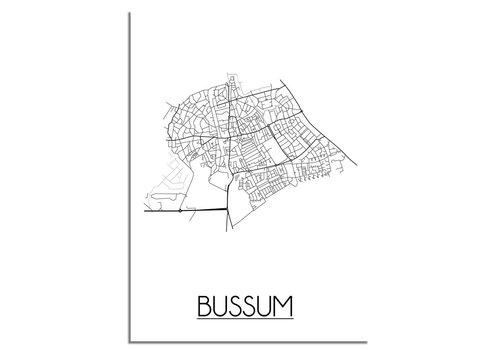 DesignClaud Plattegrond Bussum Stadskaart poster - Wit zwart grijs