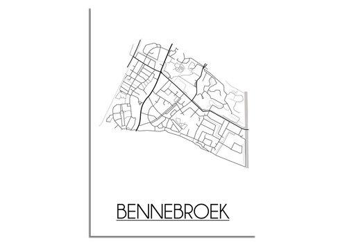 DesignClaud Plattegrond Bennebroek Stadskaart poster - Wit zwart grijs