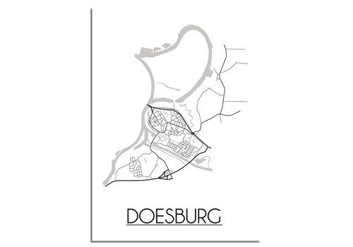 DesignClaud Doesburg Stadtplan-poster - Weiß Schwarz Grau