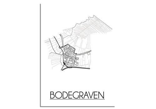 DesignClaud Bodegraven Stadtplan-poster - Weiß Schwarz Grau
