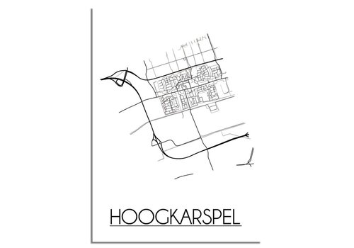 DesignClaud Hoogkarspel Stadtplan-poster - Weiß Schwarz Grau