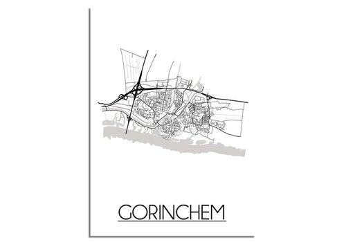 DesignClaud Gorinchem Stadtplan-poster - Weiß Schwarz Grau
