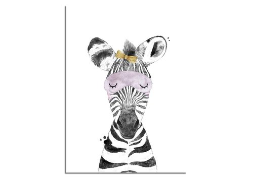 DesignClaud Zebra Kinderkamerposter Strikje