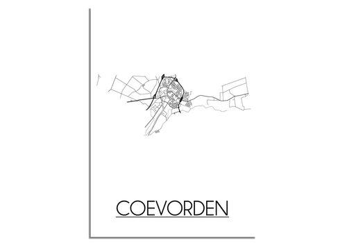DesignClaud Coevorden Stadtplan-poster - Weiß Schwarz Grau