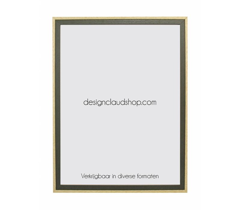 Houten wissellijst Groen/Blank kunststof venster - Div. formaten