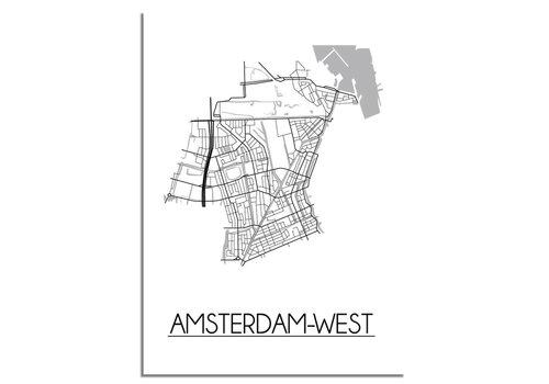 DesignClaud Amsterdam-West Stadtplan-poster