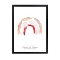 Geboorteposter Regenboog Bruin Roze Rood Kraamcadeau