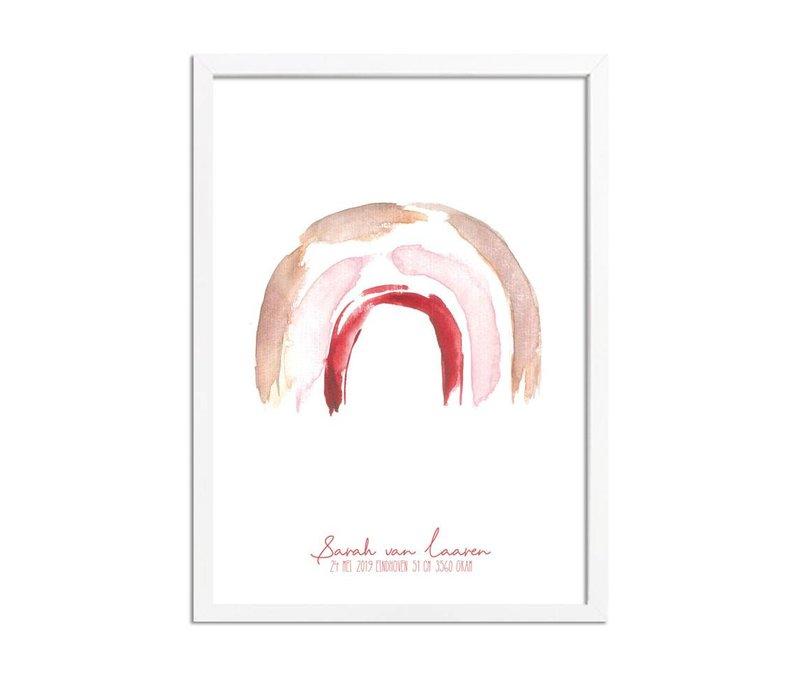 Geboorteposter Regenboog Bruin Roze Rood