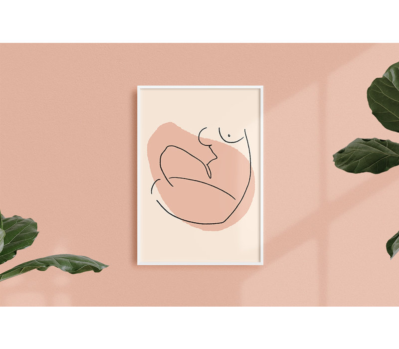 Vrouw lijntekening - Grafische poster