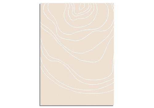 DesignClaud Lijnen Zandkleur - Grafische poster