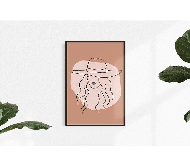 Vrouw met hoed - Grafische poster